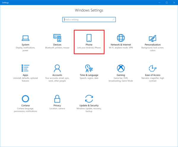 Link Phone Windows 10 Settings