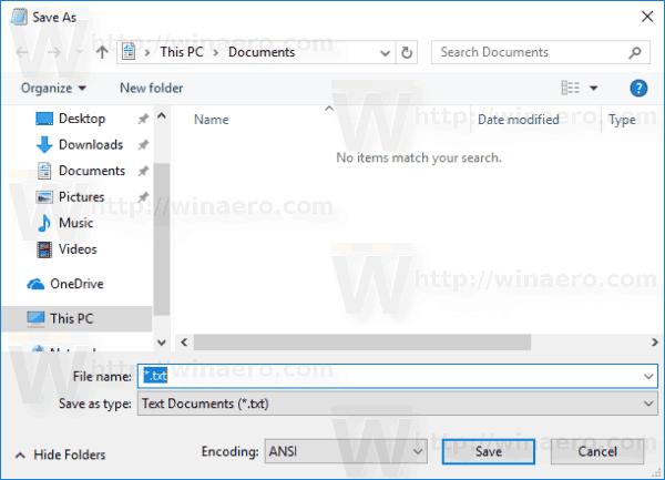 Modern Save Dialog Windows 10