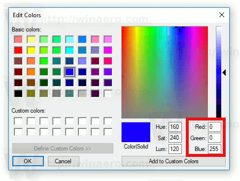 Paint RGB Values Windows 10
