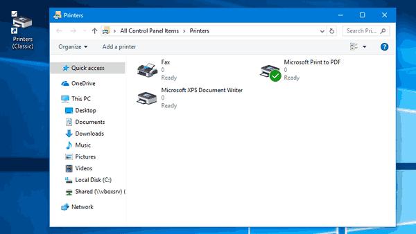 Printers Folder Shortcut Windows 10