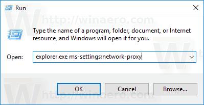 Run Dialog Open Proxy Page