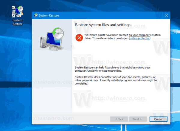 win 10 system restore