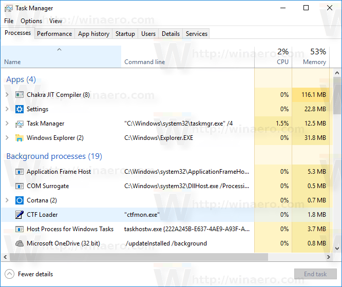 Show Command Line in Windows 10 Task Manager