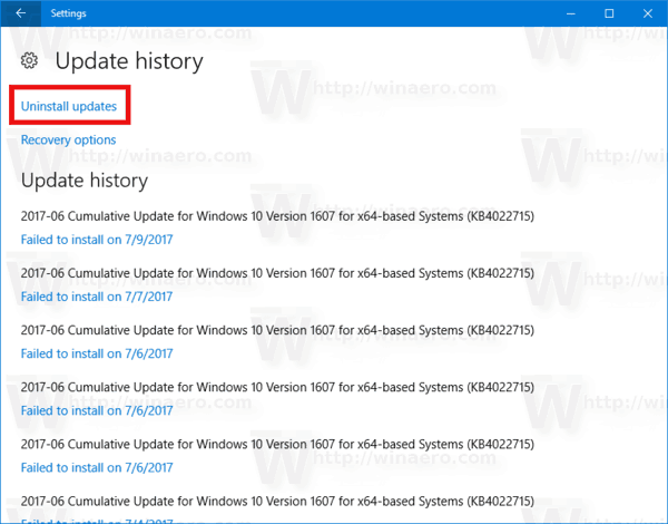 Uninstall Updates Link