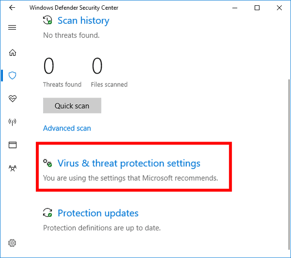 Virus Threat Protection Settings Link