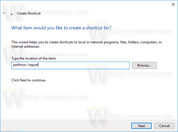 WIndows 10 Performance Report Shortcut