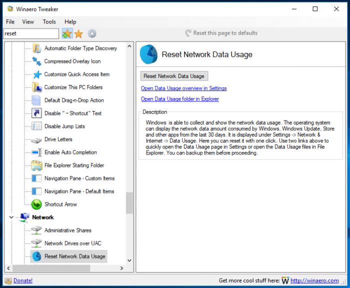 Winaero Tweaker Reset Network Data