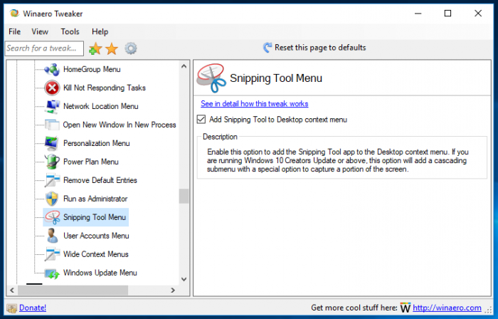 Add Snipping Tool Context Menu in Windows 10