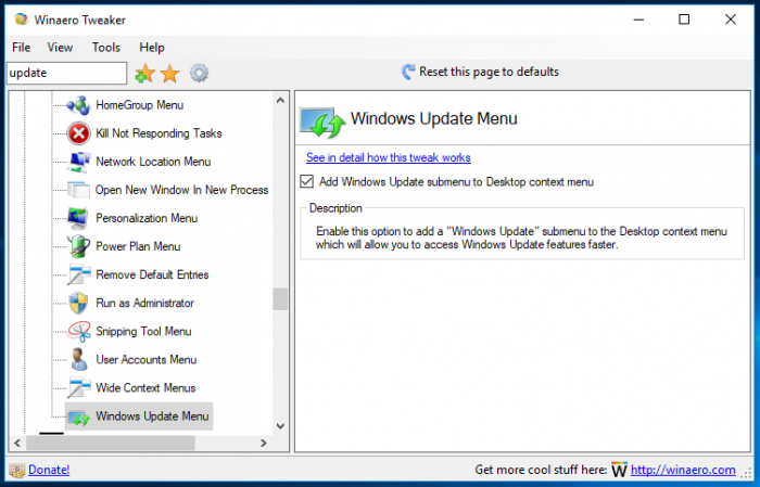 Winaero Tweaker Windows Update Menu