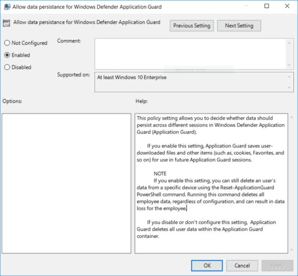 Windows 10 Guard Data Persistence