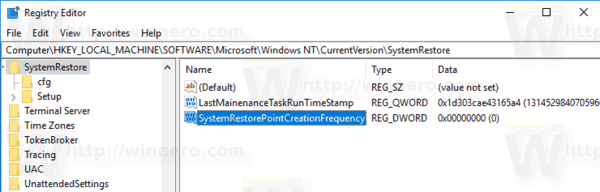 Windows 10 Increate System Restore Point Frequency