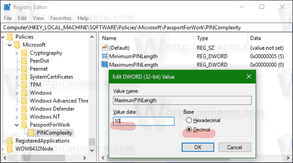 Windows 10 Maximum PIN Length