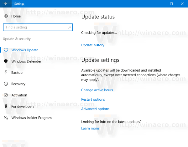 Windows 10 Windows Update Creators Update Settings
