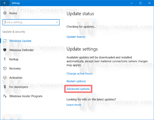 Windows 10 Windows Update Advanced Options Link