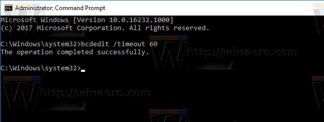 Windows 10 Change Boot Timeout
