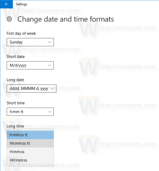 Windows 10 Change Date Time Format Settings