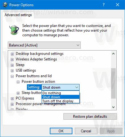Windows 10 Change Hardware Power Button Action 2