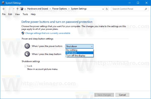 Windows 10 Change Hardware Power Button Action