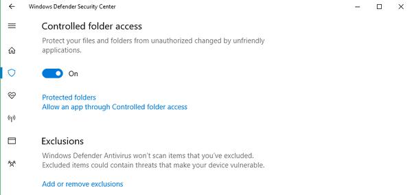 Windows 10 Controlled Folder Access