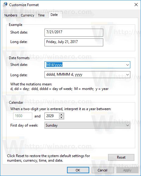 Windows 10 Custom Date Tab