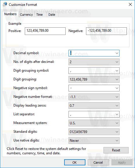 Windows 10 Custom Time Format