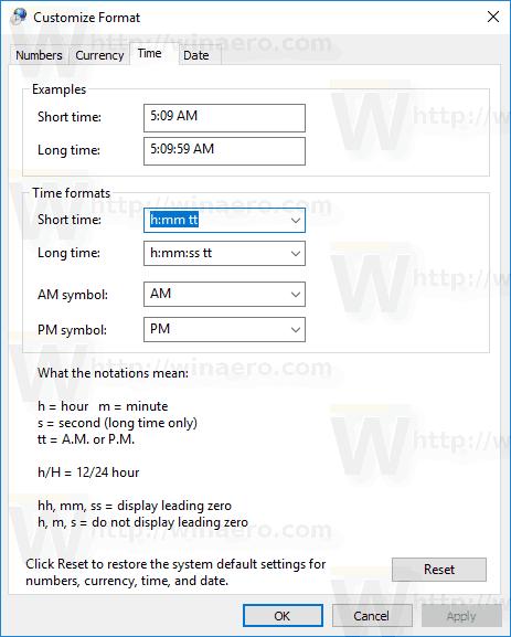 Windows 10 Custom Time Tab
