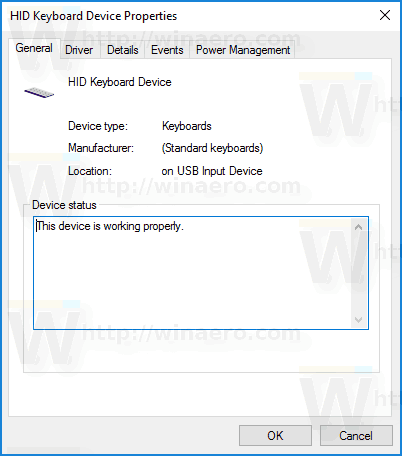 Windows 10 Device Properties