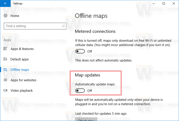 Disable Offline Maps Auto Update in Windows 10