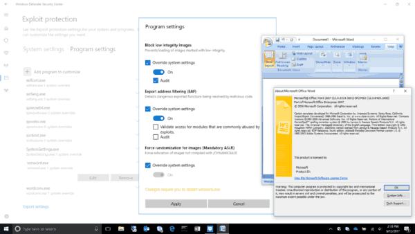 Windows 10 Exploit Protection