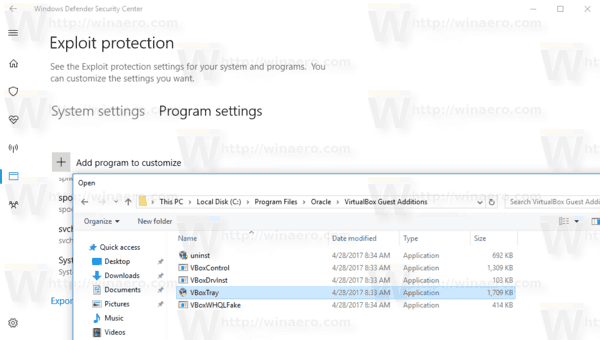Windows 10 Exploit Protection Add New Program 2