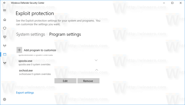 Windows 10 Exploit Protection Program Tab