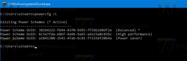 Windows 10 Power Scheme List