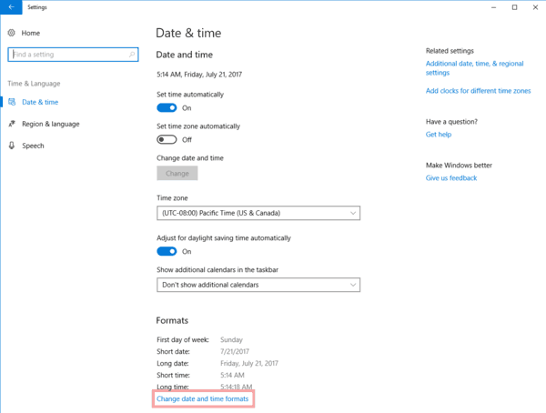 Windows 10 Settings Change Data And Time Formats Link