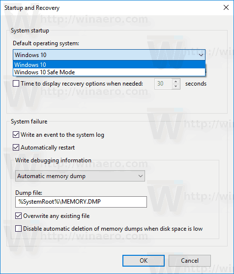 Windows 10 System Properties Set Default Os
