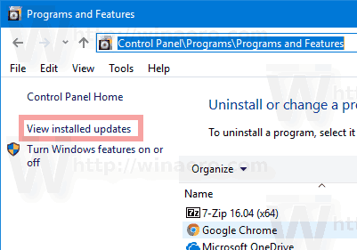 Windows 10 View Installed Updates Link