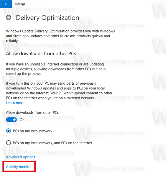 Windows Update Delivery Optimization Activity Monitor Link