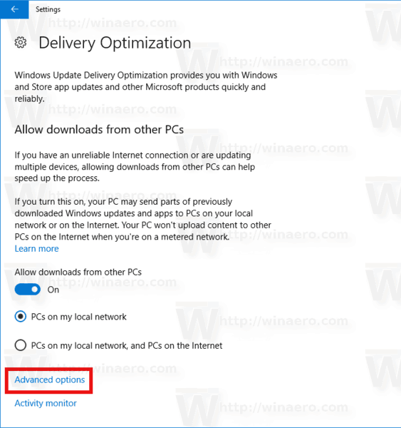 Windows Update Delivery Optimization Advanced Options Link