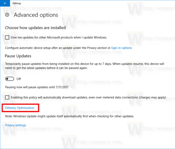 Windows Update Delivery Optimization Link
