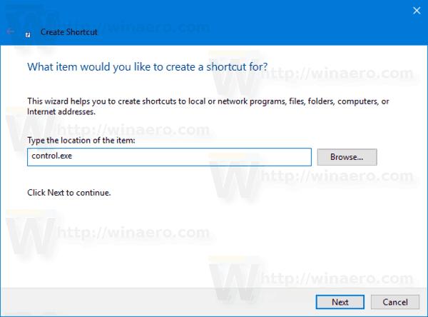 Control Panel Shortcut Default View
