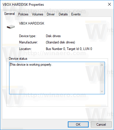 Disk Properties In Device Manager