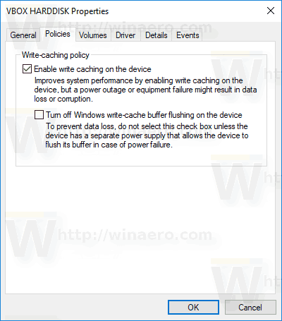 Policy Tab Disk Properties In Device Manager
