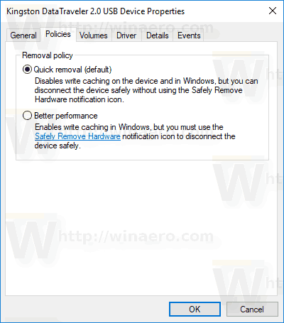 Policy Tab Revomal Policy In Device Manager