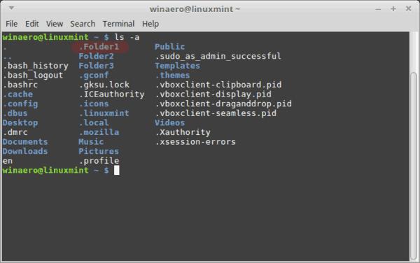 Terminal Hidden Folder Is Visible