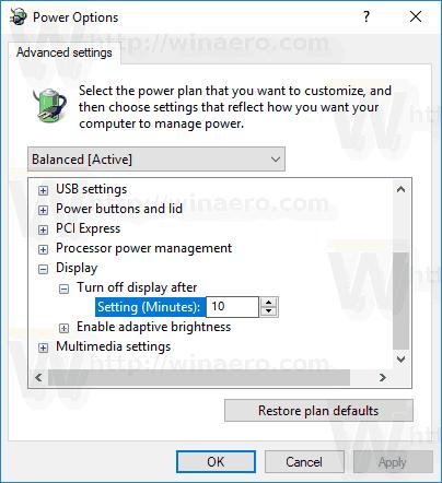 Turn Off Display Time Control Panel 2