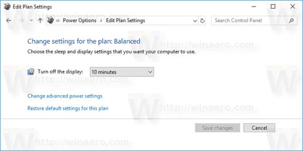 Turn Off Display Time Control Panel