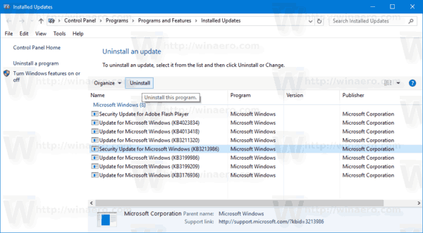 Uninstall An Update Windows 10