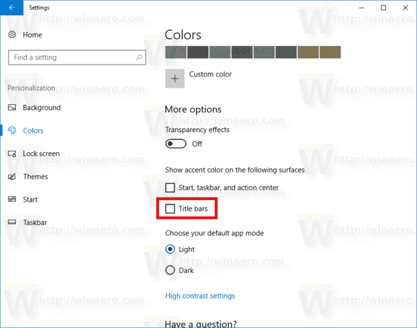 Change Title Bar Text Color in Windows 10
