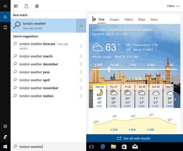 Web Search Results In Cortana