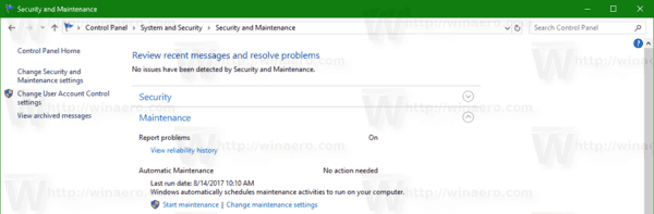 Change Security And Maintenance Report Problems On