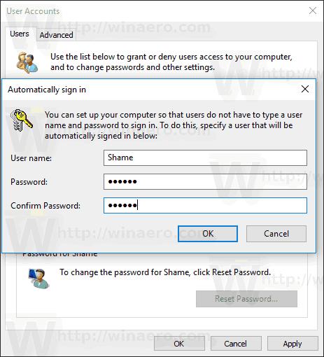 Confirm Auto Login User Accounts